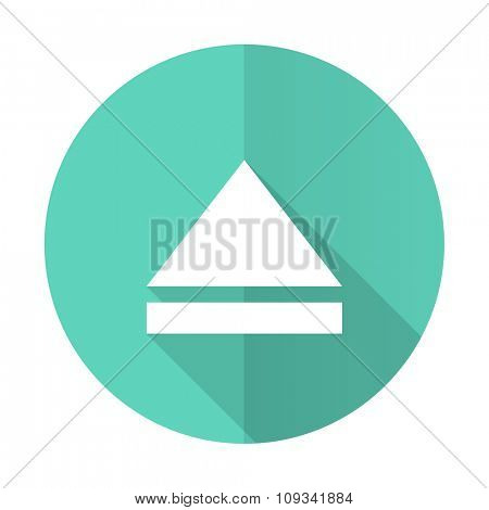 eject blue web flat design circle icon on white background