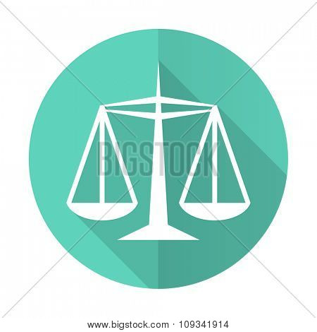 justice blue web flat design circle icon on white background