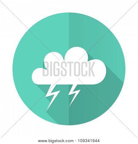 storm blue web flat design circle icon on white background