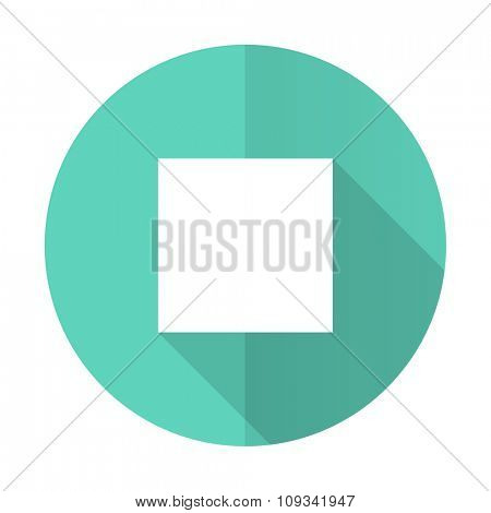stop blue web flat design circle icon on white background