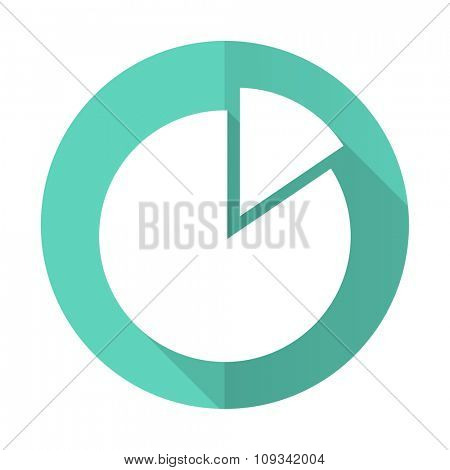 chart blue web flat design circle icon on white background