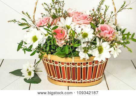 Basket With Roses And Chrysanthemums