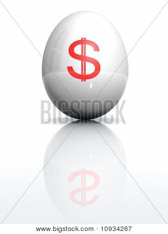 Isolated White Egg With Drawn Dollar Character