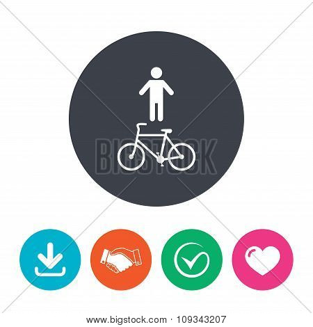 Bicycle and pedestrian trail icon. Cycle path.