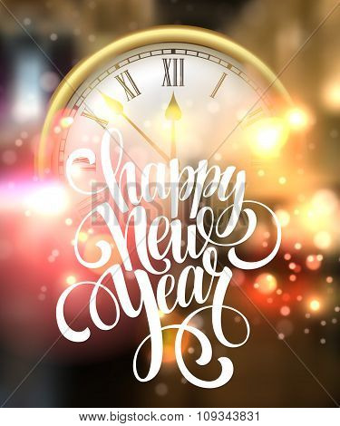 Vector 2016 Happy New Year background with clock. Vector illustration