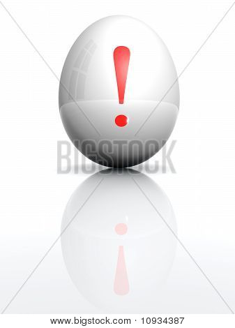 Isolated White Egg With Drawn Bang Character
