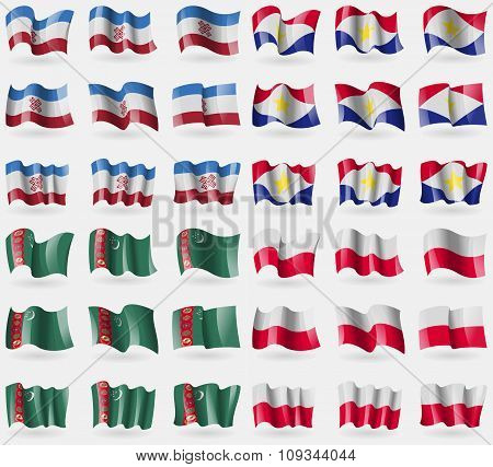 Mari El, Saba, Turkmenistan, Poland. Set Of 36 Flags Of The Countries Of The World.
