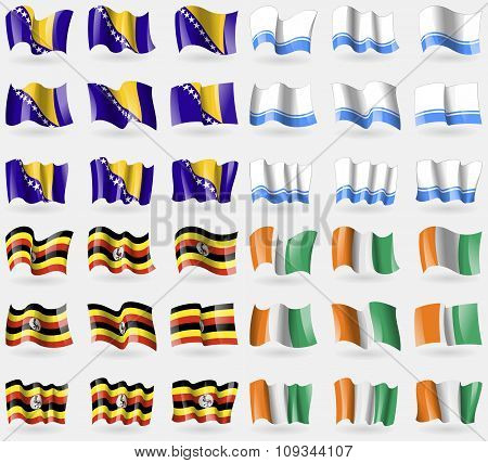 Bosnia And Herzegovina, Altai Republic, Uganda, Cote Divoire. Set Of 36 Flags Of The Countries Of