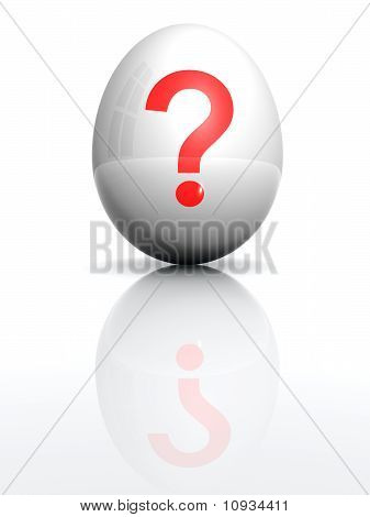 Isolated White Egg With Drawn Query Mark