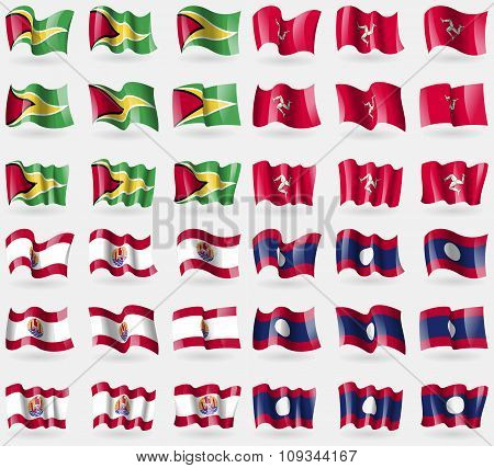Guyana, Isle Of Man, French Polynesia, Laos. Set Of 36 Flags Of The Countries Of The World.