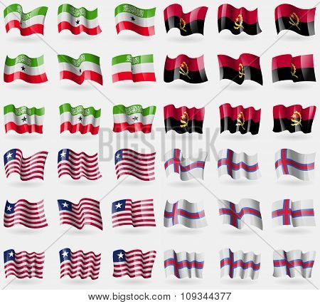 Somaliland, Angola, Liberia, Faroe Islands. Set Of 36 Flags Of The Countries Of The World.