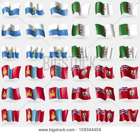 San Marino, Algeria, Mongolia, Bermuda. Set Of 36 Flags Of The Countries Of The World.