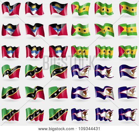 Antigua And Barbuda, Sao Tome And Principe, Saint Kitts And Nevis, American Samoa. Set Of 36 Flags