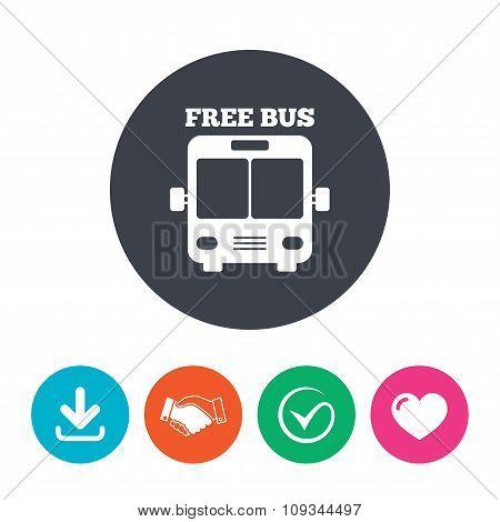 Bus free sign icon. Public transport symbol.