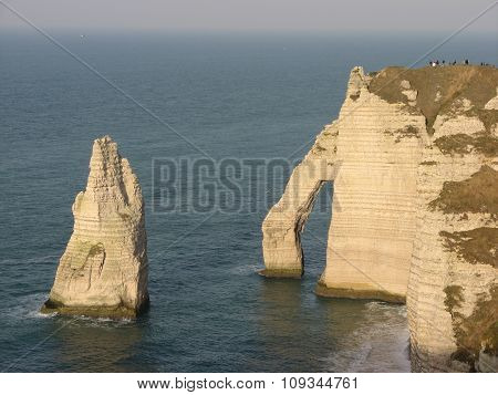Chalk cliffs at Cote d'Albatre. Etretat, France