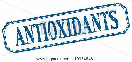 Antioxidants Square Blue Grunge Vintage Isolated Label