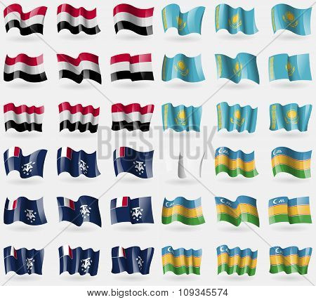 Yemen, Kazakhstan, French And Antarctic, Karakalpakstan. Set Of 36 Flags Of The Countries Of The