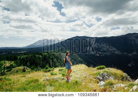 Woman Relax In Fascinating Landscape Of Mountains