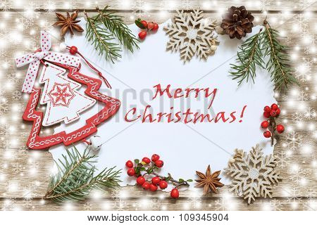 Christmas decoration on wooden boards