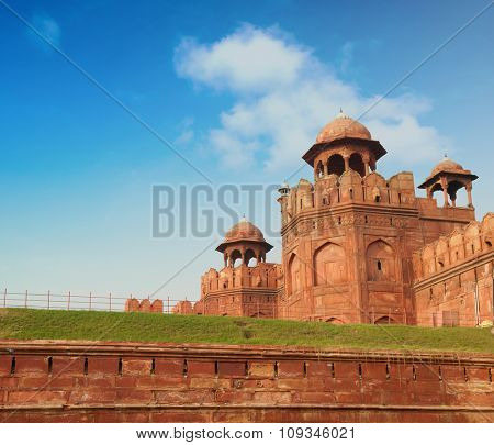 View of Lal Qila - Red Fort in Delhi, India