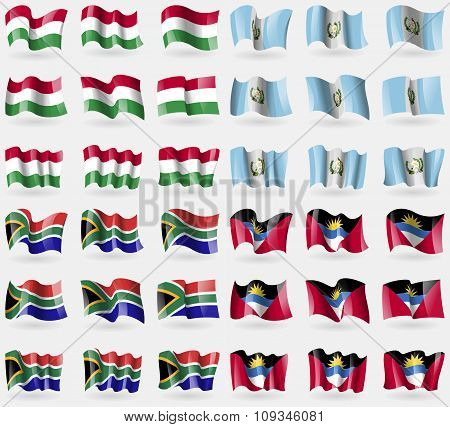 Hugary, Guatemala, South Africa, Antigua And Barbuda. Set Of 36 Flags Of The Countries Of The