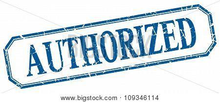 Authorized Square Blue Grunge Vintage Isolated Label