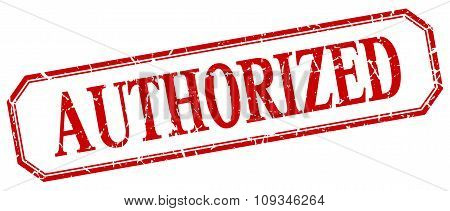 Authorized Square Red Grunge Vintage Isolated Label