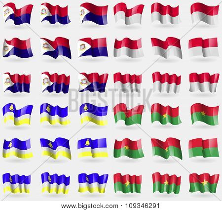 Saint Martin, Monaco, Buryatia, Burkia Faso. Set Of 36 Flags Of The Countries Of The World.