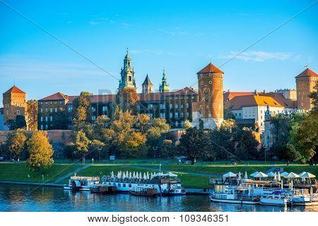 View on Wawel castle from the Vistula river in Krakow