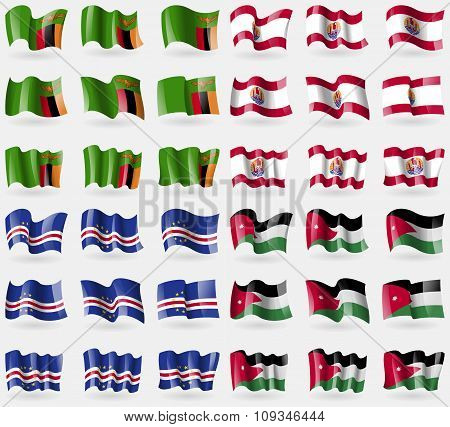 Zambia, French Polynesia, Cape Verde, Jordan. Set Of 36 Flags Of The Countries Of The World.