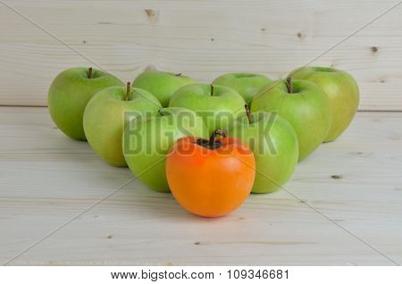 Kaki And Green Apples