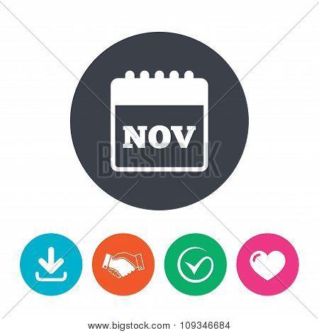 Calendar sign icon. November month symbol.