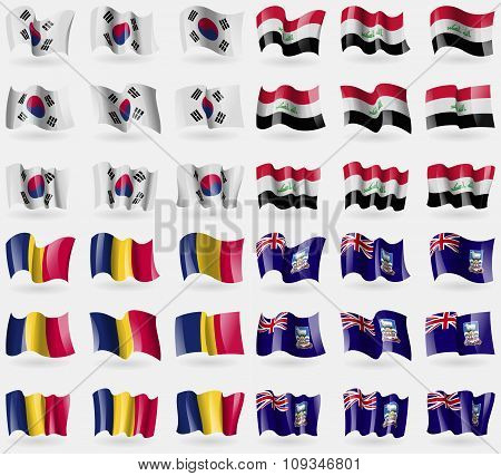 Korea South, Iraq, Chad, Falkland Islands. Set Of 36 Flags Of The Countries Of The World.