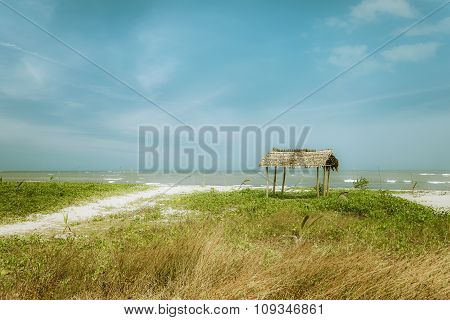 Sunny Day At Tropical Beach With Fisherman Hut. Myanmar (burma)