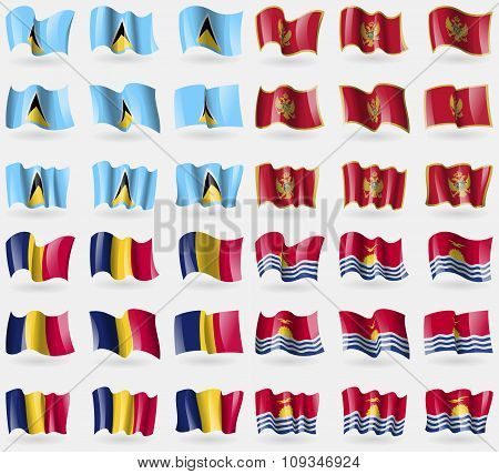 Saint Lucia, Montenegro, Chad, Kiribati. Set Of 36 Flags Of The Countries Of The World.