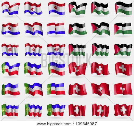 Mordovia, Palestine, Khakassia, Switzerland. Set Of 36 Flags Of The Countries Of The World.