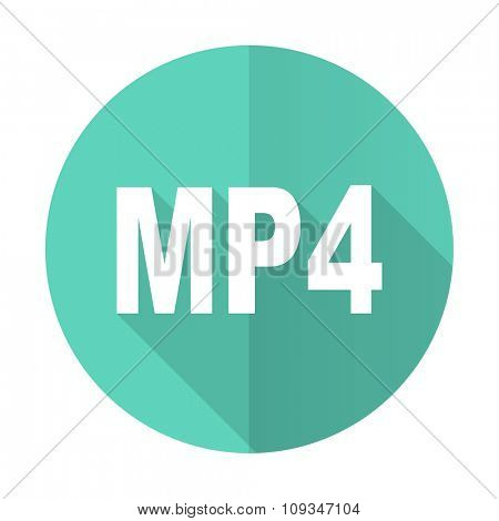 mp4 blue web flat design circle icon on white background