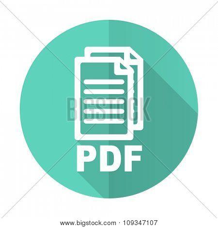 pdf blue web flat design circle icon on white background ,