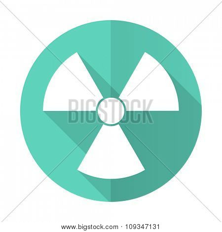 radiation blue web flat design circle icon on white background