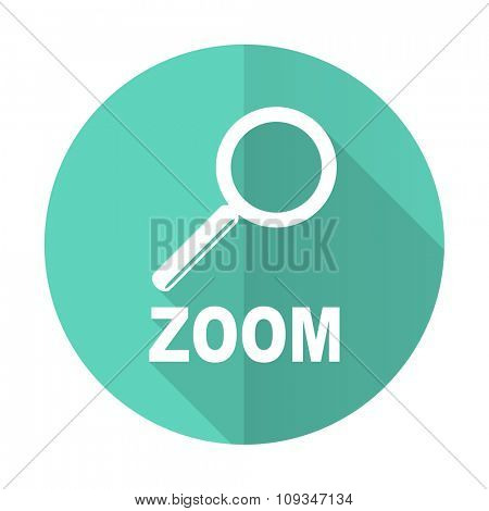 zoom blue web flat design circle icon on white background