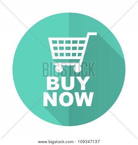 buy now blue web flat design circle icon on white background