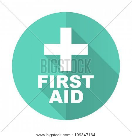 first aid blue web flat design circle icon on white background