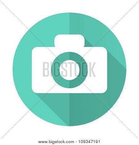 camera blue web flat design circle icon on white background
