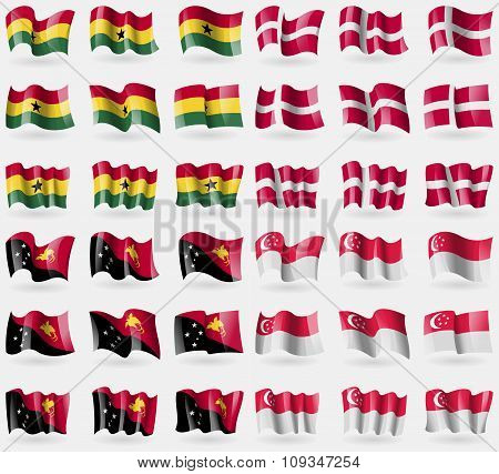 Ghana, Denmark, Papua New Guinea, Singapore. Set Of 36 Flags Of The Countries Of The World.