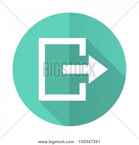 exit blue web flat design circle icon on white background