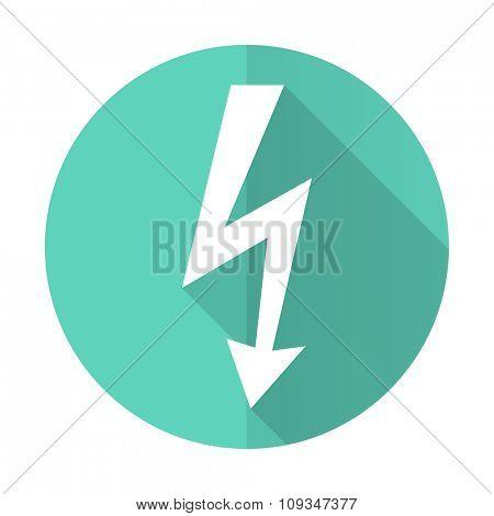 bolt blue web flat design circle icon on white background