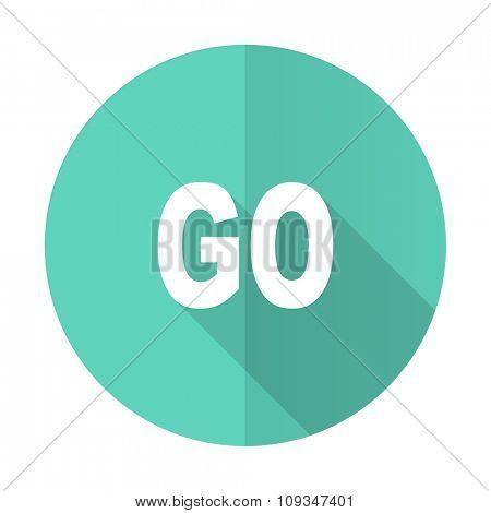 go blue web flat design circle icon on white background