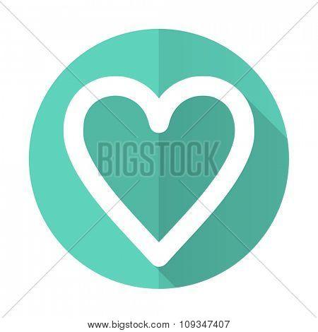 heart blue web flat design circle icon on white background