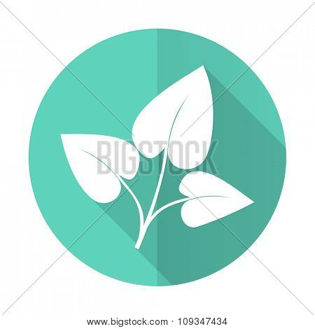 leaf blue web flat design circle icon on white background