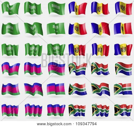 Saudi Arabia, Moldova, Kuban Republic, South Africa. Set Of 36 Flags Of The Countries Of The